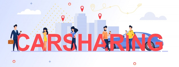 Group people using carsharing service.