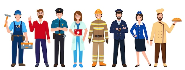 Group of people various occupations or professions