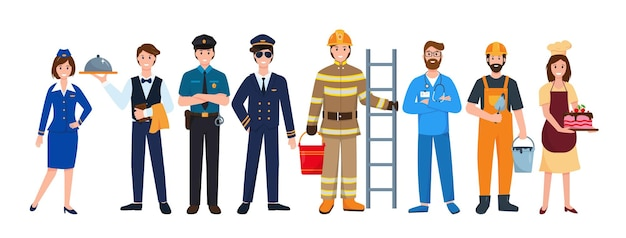 Group of people various professions and occupations worlds most in demand professions set