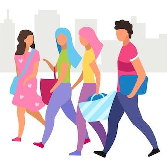 Group of people walking street   illustration
