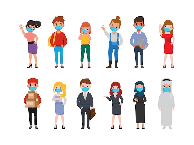 Group of people wearing a face mask animation pose