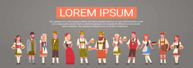 Group of people wearing german traditional clothes man and woman holding beer mugs oktoberfest party concept