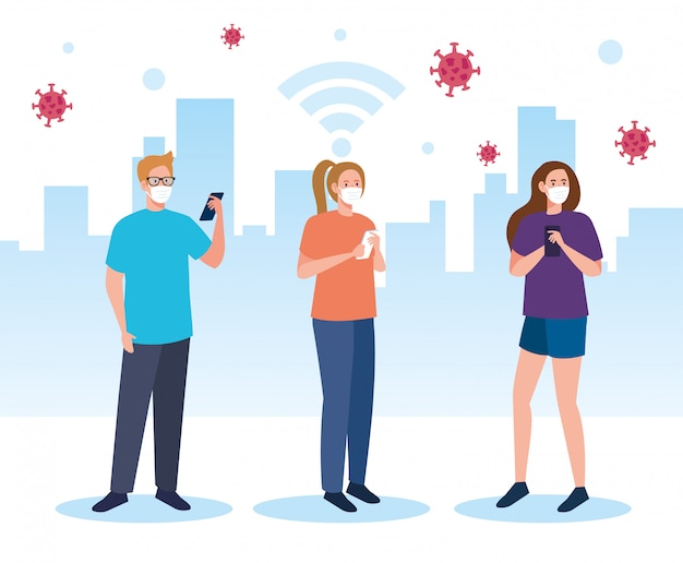スマートフォン、ソーシャルメディアのコロナウイルスの概念を使用してに対して医療マスクを着ているグループの人々