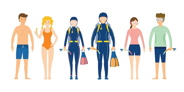 Group of people wearing swimming and diving clothes