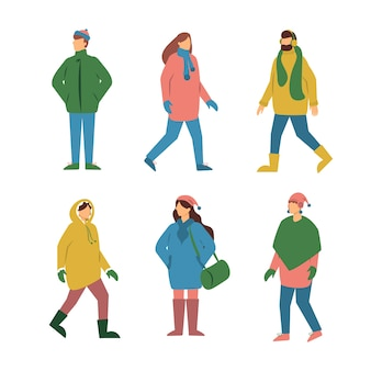 Group of people in winter clothes