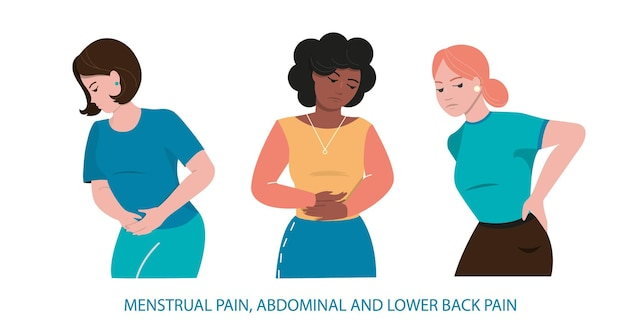 A group of people with abdominal and lower back pain. girls of different nationalities.