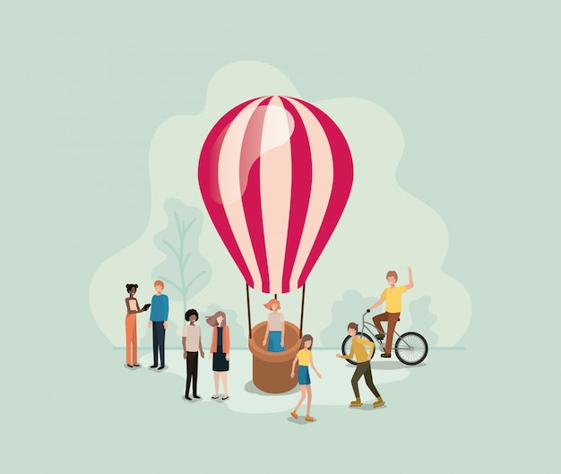 Group of people with balloon air hot flying