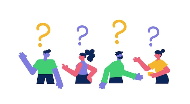 Group of people with big question marks