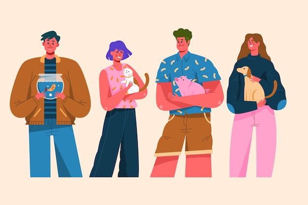 Group of people with different pets illustration