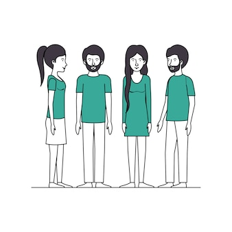 Group of people with green clothes