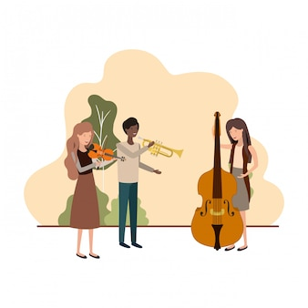 Group of people with musical instruments in landscape
