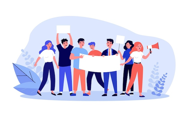 Group of people with placard and banner at protest. female character speaking into megaphone flat vector illustration. demonstration, activism concept for banner, website design or landing web page