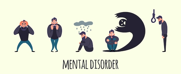 Group of people with psychology or psychiatric problem