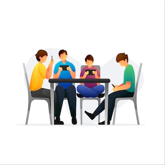 Group of people with smart phones and sit on the chair