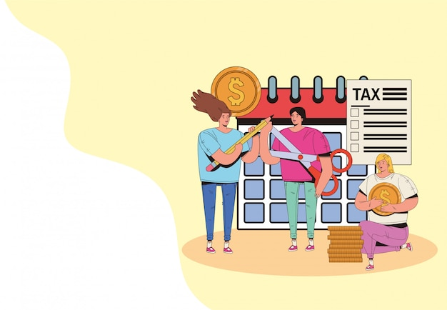 Group of people with tax day pay illustration design