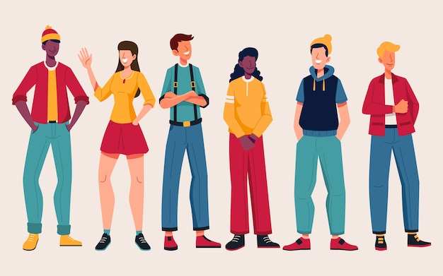 Group of people with trendy outfits