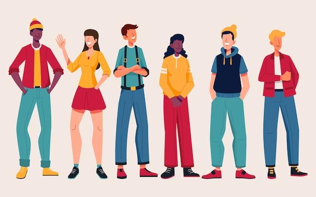 Gruppo di persone con abiti alla moda