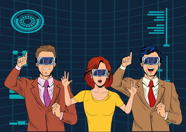 Group of people with virtual reality headset