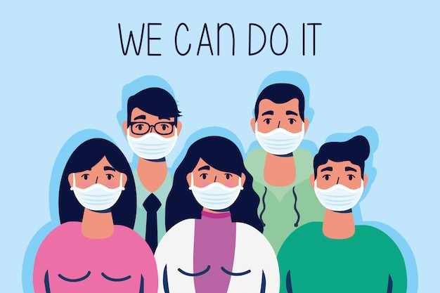 Group of people with we can do it message  illustration