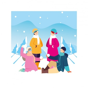 Group of people with winter clothes in landscape with snowfall