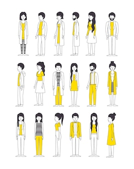 Group of people with yellow clothes