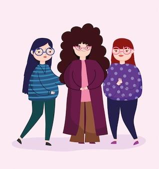 カジュアルな服装のレジャーでグループの人々の女性キャラクター
