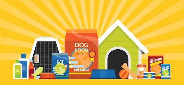 Group of pet food and equipment