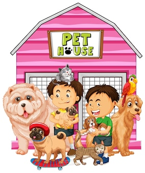 Group of pet with owner on white background