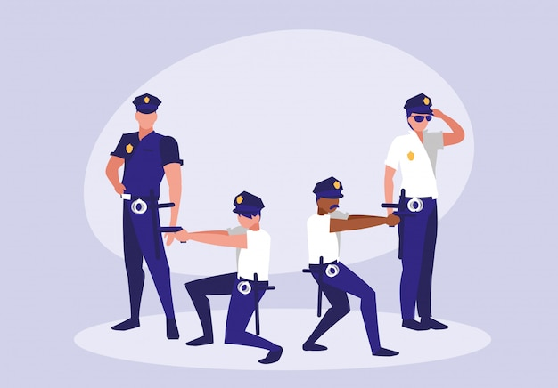 Group of policemen avatar character