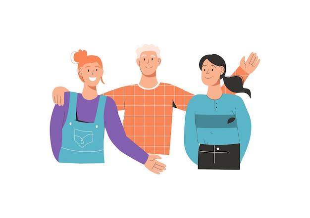 お互いを抱き締める友人のグループの肖像画