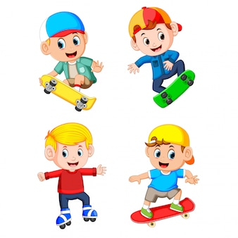 A group of the professional boy playing the skateboard