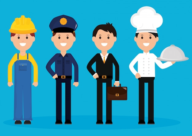 Group of professionals workers