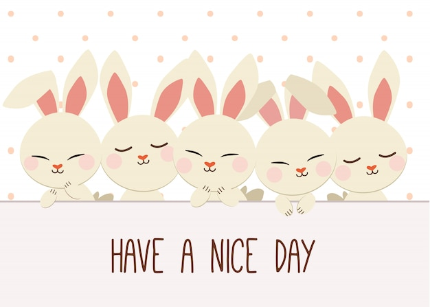 Group of rabbits with a polka dot. have a nice day