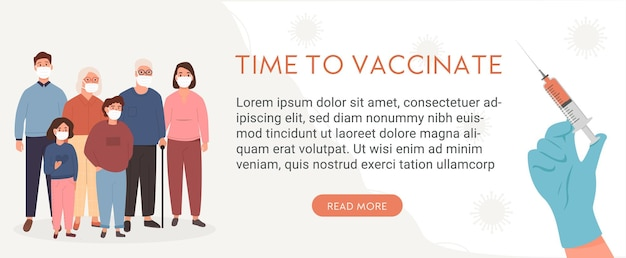 Group of relative wearing face mask staying at home. family vaccination calendar concept. people on quarantine. banner or poster with caption time to vaccinate. covid-19 vaccine. vector illustration. Premium Vector