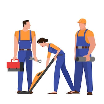 Group of repairman in the uniform. technician occupation. character holding professional tool for work.   illustration in  style