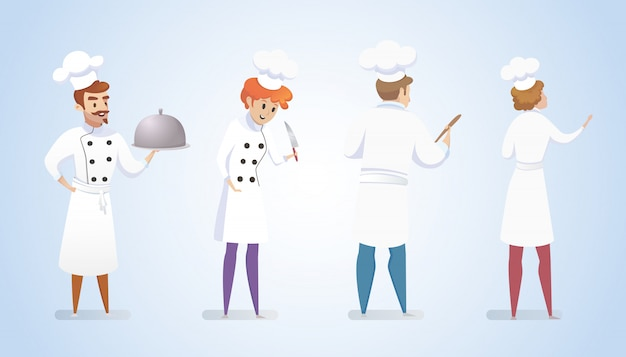 Group restaurant chefs isolated blue background