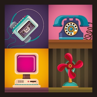 Group of retro objects