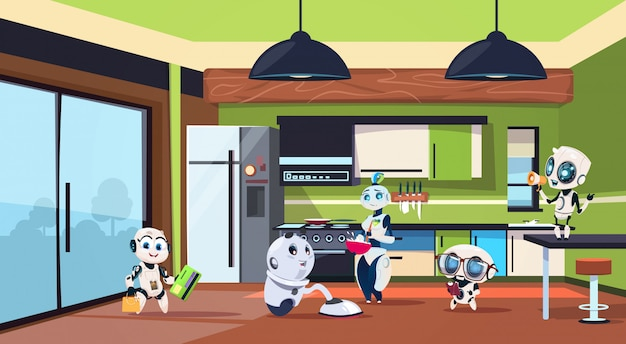 Group of robots housekeepers cleaning kitchen room