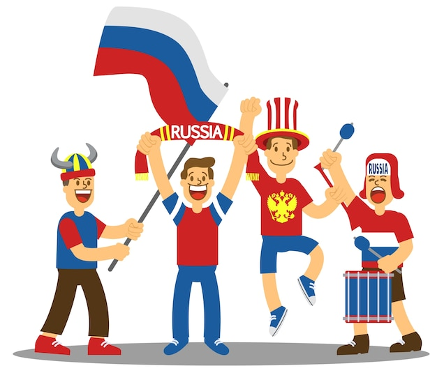 Group of russia soccer supporter