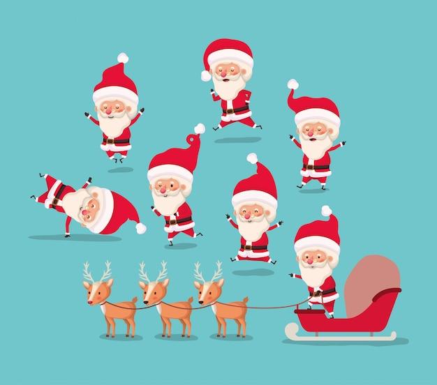 Group of santa claus and reindeer