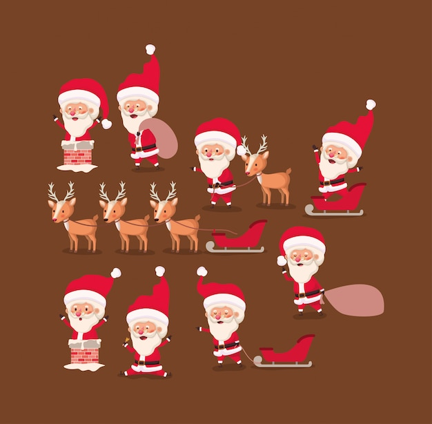 Group of santa claus and reindeer