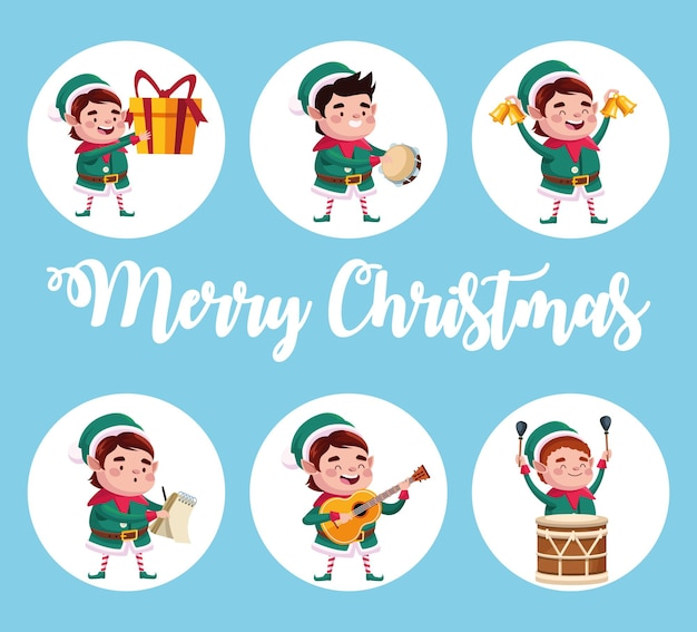 Group of santa helpers characters with gifts and instruments illustration