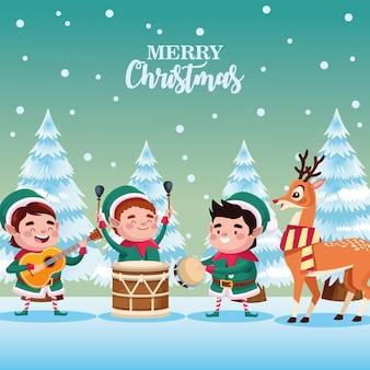 Group of santa helpers playing instruments and deer characters illustration