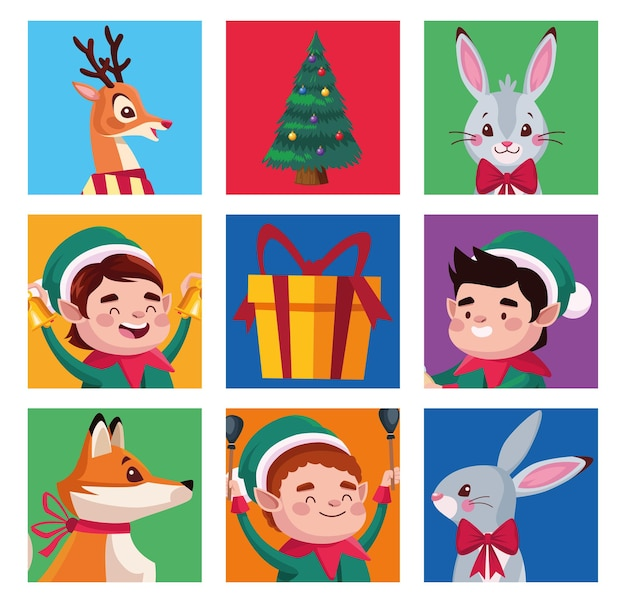Group of santa helpers with animals characters illustration