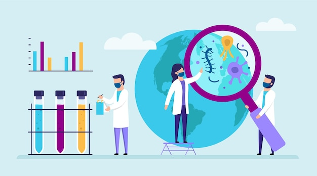 Group of scientists investigating viruses around the world. male and female characters. people in white coats with medical flasks, magnifier, infographics.