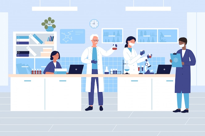 Group scientists in medical or chemical laboratory character flat illustration concept