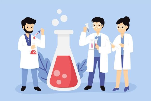 Gruppo di scienziati che lavorano