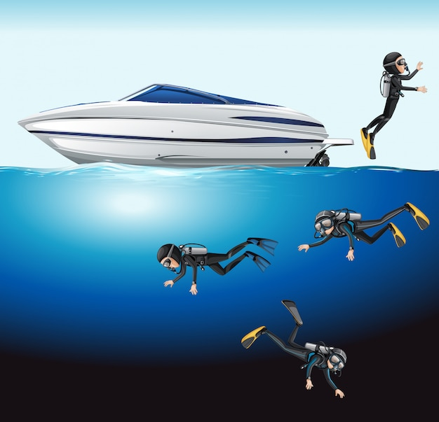 A group of scuba diving