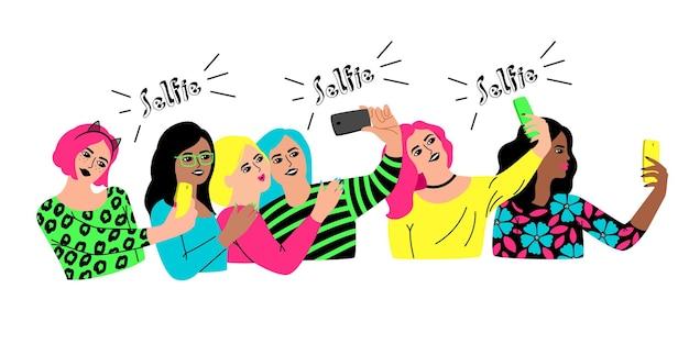 단체 셀카. 만화 캐릭터는 사교 행사를 위해 만나고, 파티를 축하하는 젊은 행복한 여성, 흰색 배경에 격리된 여성 그룹의 벡터 일러스트레이션 셀카
