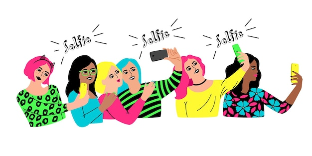 Group selfie. cartoon characters meet for social event, young happy women celebrating party, vector illustration selfies of female group isolated on white background